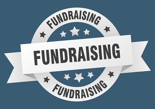 fundraising round ribbon isolated label. fundraising sign