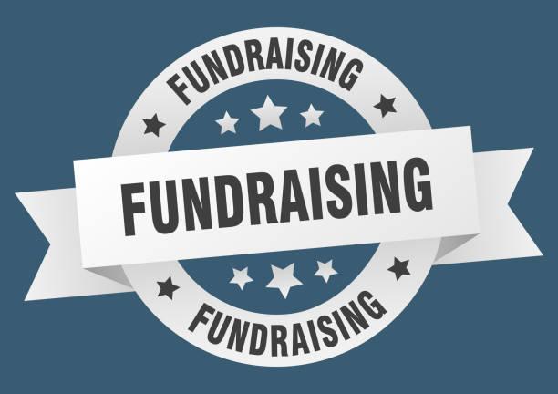 fundraising round ribbon isolated label. fundraising sign vector art illustration