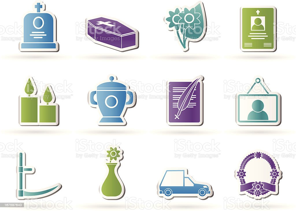 funeral and burial icons royalty-free stock vector art