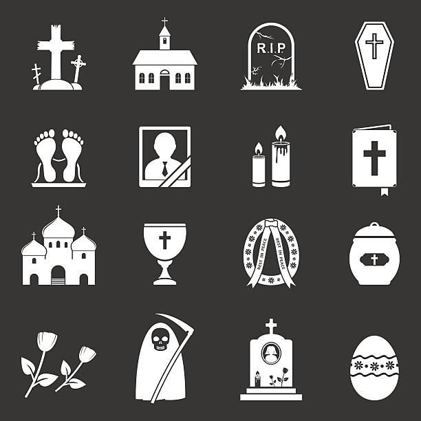 stockillustraties, clipart, cartoons en iconen met funeral and burial icons - funeral crying