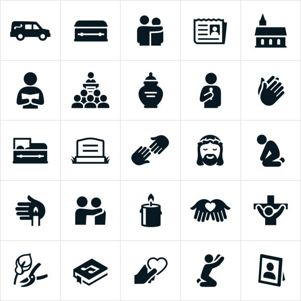 Funeral and Burial Icons Icons related to funerals and burials. The icons also relate to Christian beliefs as they pertain to life after death. The icons include a hearse, casket, grief, people grieving, obituary, death, church, ceremony, speakers, urn, prayer, headstone, Jesus Christ, mourning, candle, flowers and music among others. death stock illustrations