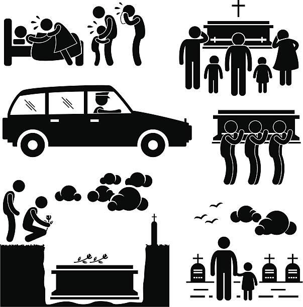stockillustraties, clipart, cartoons en iconen met funeral burial ceremony pictogram - funeral crying