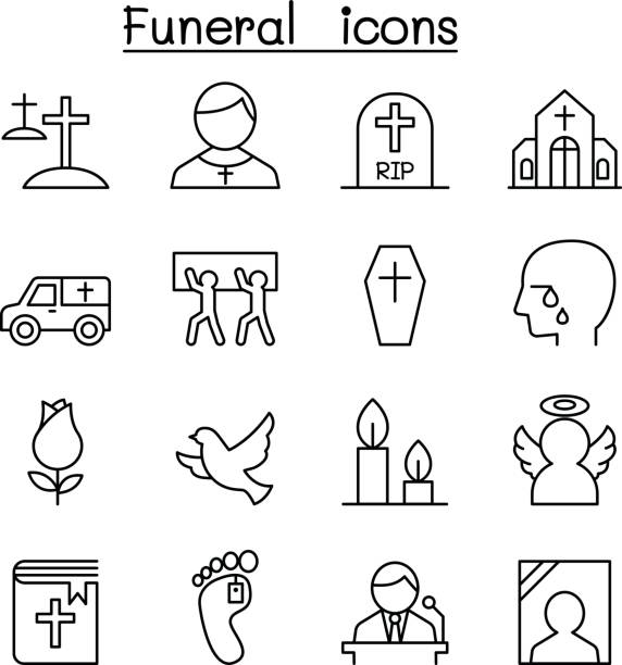 funeral & burial icon set in thin line style - tombstone stock illustrations, clip art, cartoons, & icons