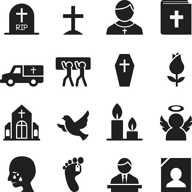 stockillustraties, clipart, cartoons en iconen met funeral, burial icon - graf