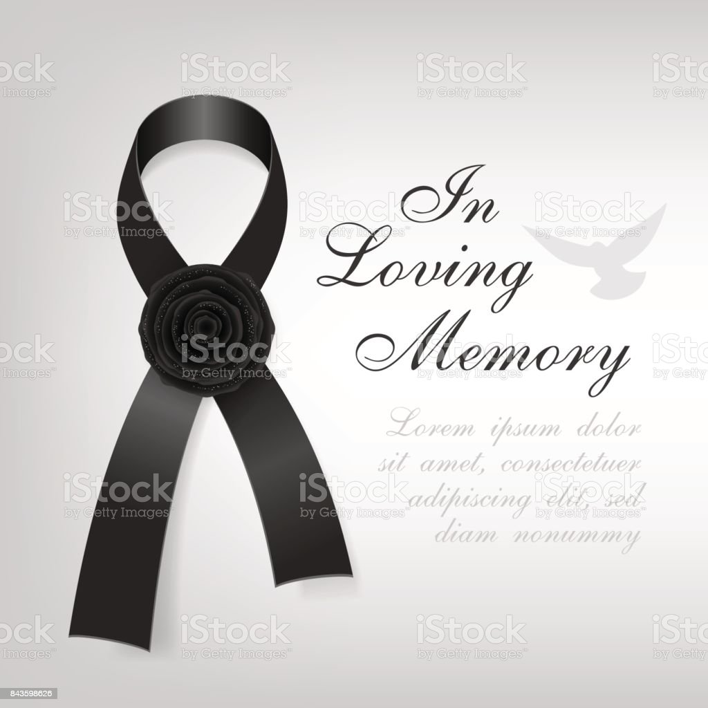 Funeral card black awareness ribbon with black rose flower on the funeral card black awareness ribbon with black rose flower on the light background royalty izmirmasajfo