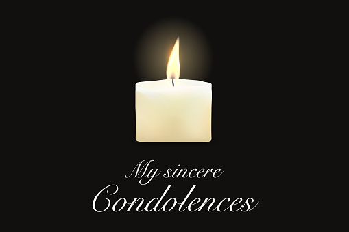 Funeral card candle, condolence obituary message