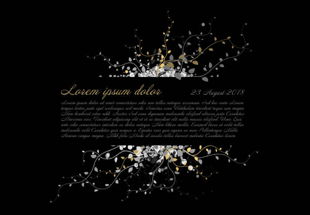 Funeral card template with white and golden flowers Black funeral card template with white and golden flowers and place for your content comfort stock illustrations