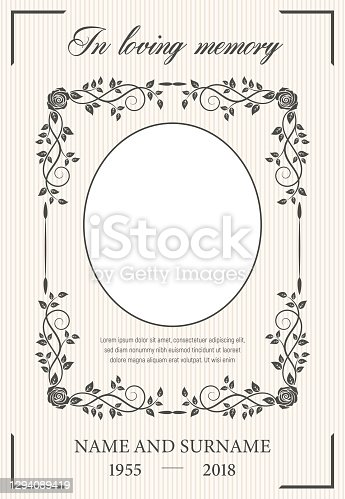 istock Funeral card vector template, oval frame for photo 1294089419