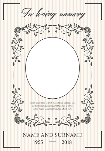 Funeral card vector template, oval frame for photo