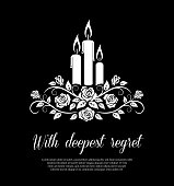 istock Funeral card vector template with burning candles 1248802038