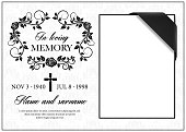 istock Funeral card, vintage condolence vector frame 1257192551