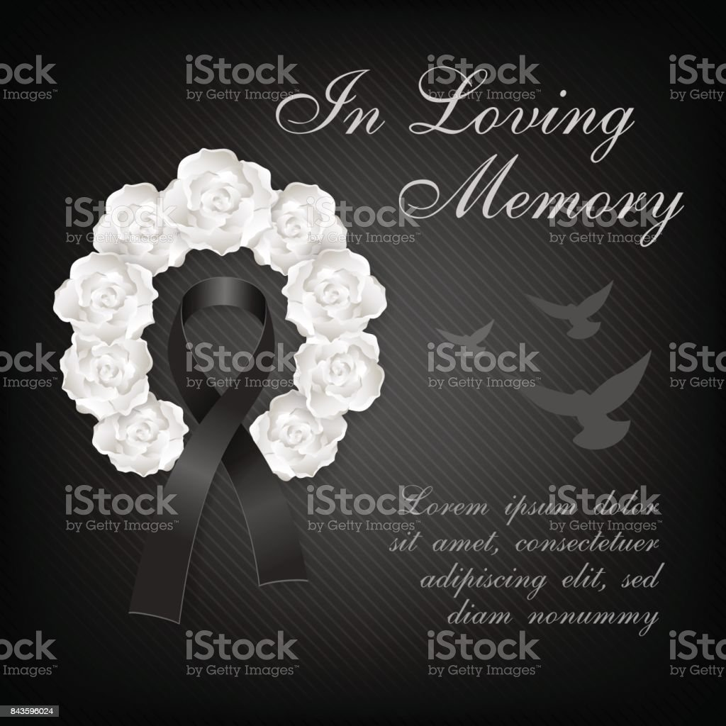 Funeral card white roses wreath and black ribbon with flying dove funeral card white roses wreath and black ribbon with flying dove on the dark background kristyandbryce Images