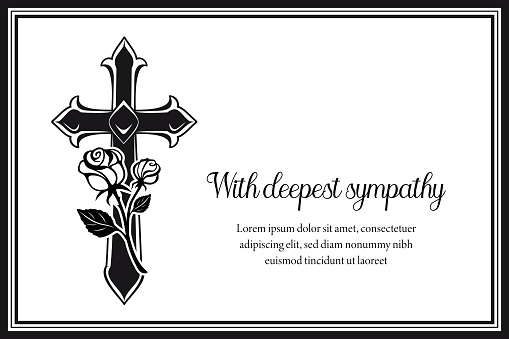 Funeral card with gothic medieval cross and roses