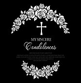 istock Funeral card with rose flowers wreath and cross. 1281591472