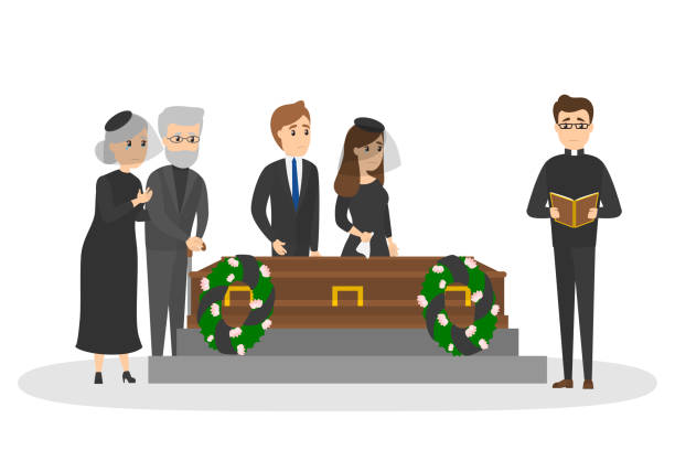 Funeral ceremony on the cemetery with sad people vector art illustration