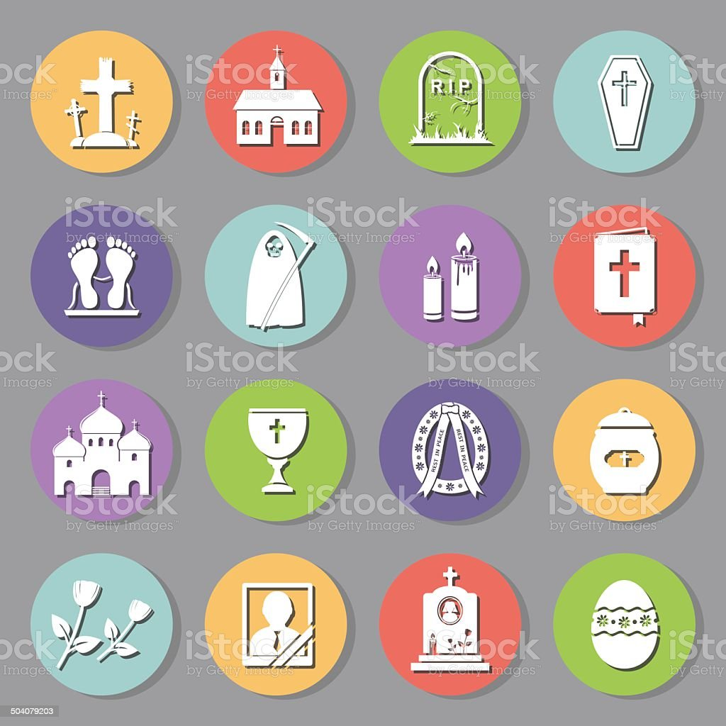 Funeral flat icons royalty-free stock vector art