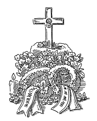 Funeral Grave Decoration Flowers Candles Drawing