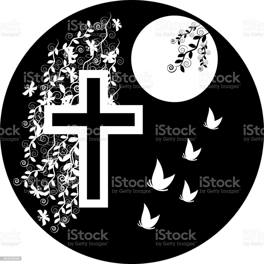 Funeral icon cross - faith and religion. Vector illustration vector art illustration