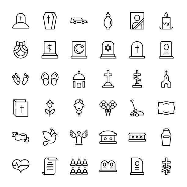 Funeral icon set Funeral icon set. Collection of high quality outline Burial pictograms in modern flat style. Black angel, coffin, deth, grave  logo for web design and mobile app on white background. dead stock illustrations