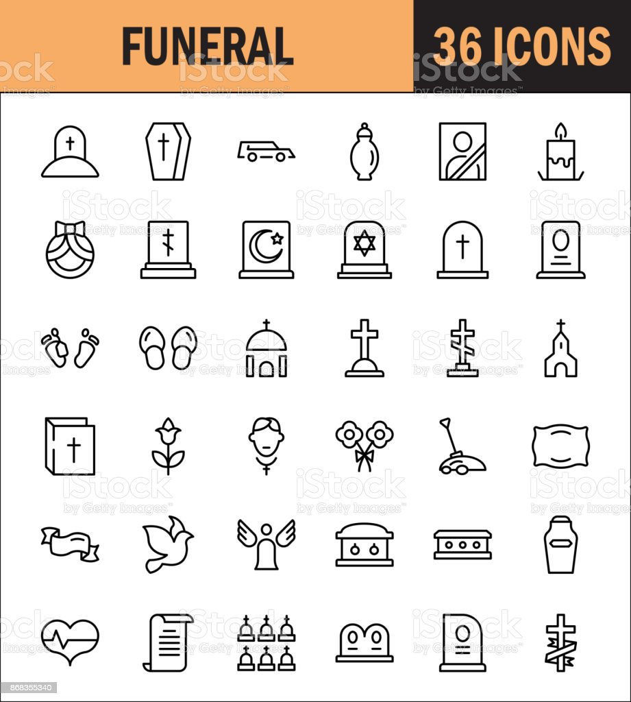 Funeral icon set vector art illustration