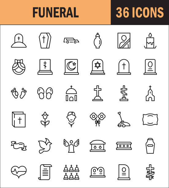 funeral icon set - tombstone stock illustrations, clip art, cartoons, & icons