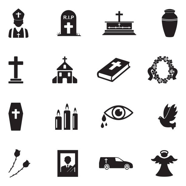 Funeral Icons. Black Flat Design. Vector Illustration. Funeral Service, Funeral Parlor, Candle, Church dead stock illustrations