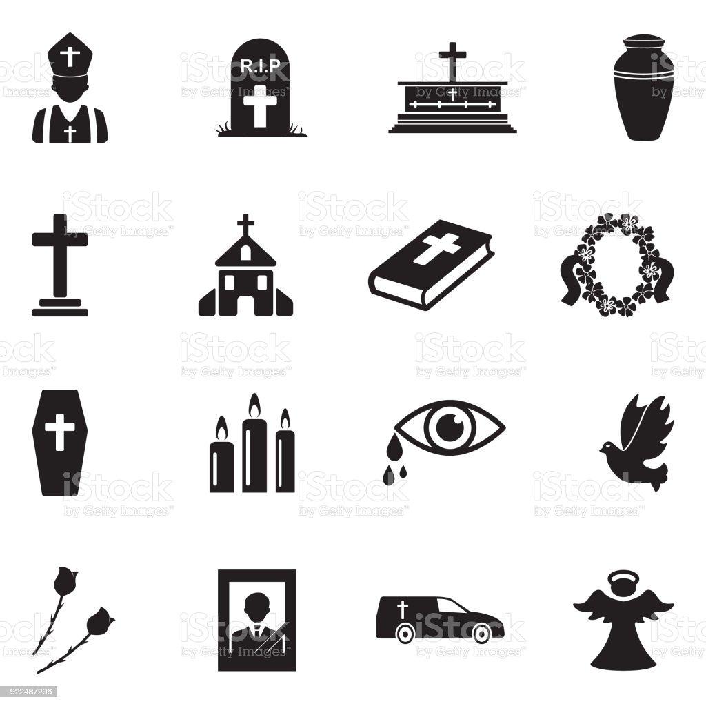 Funeral Icons. Black Flat Design. Vector Illustration. vector art illustration