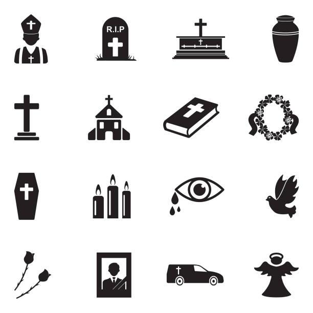 stockillustraties, clipart, cartoons en iconen met de pictogrammen van de begrafenis. zwart plat design. vectorillustratie. - graf