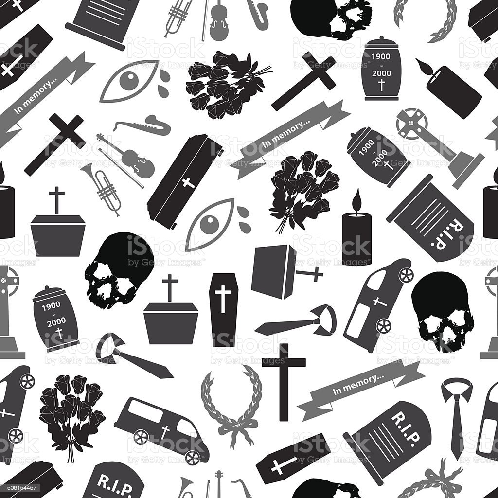 funeral icons grayscale seamless pattern eps10 royalty-free stock vector art