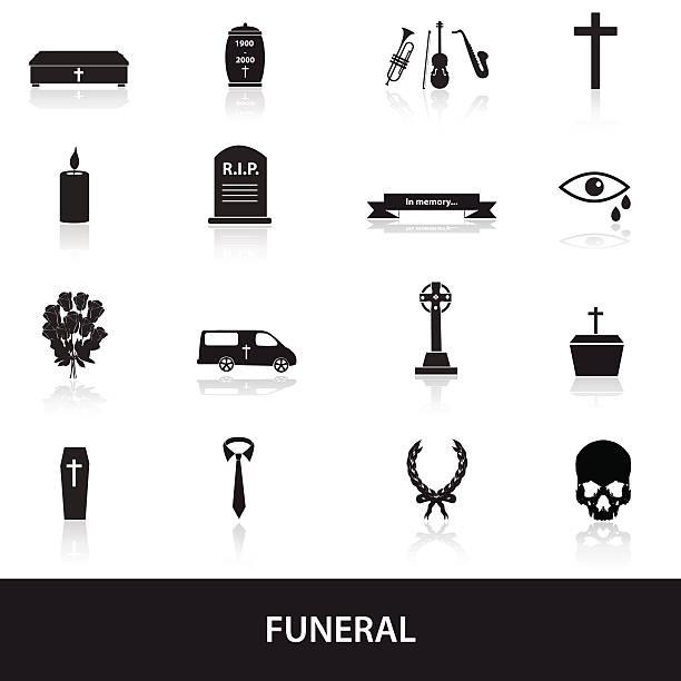 stockillustraties, clipart, cartoons en iconen met funeral icons set eps10 - funeral crying