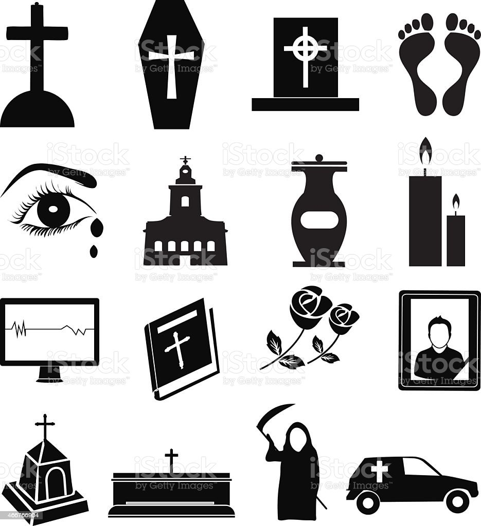 Funeral icons set vector art illustration