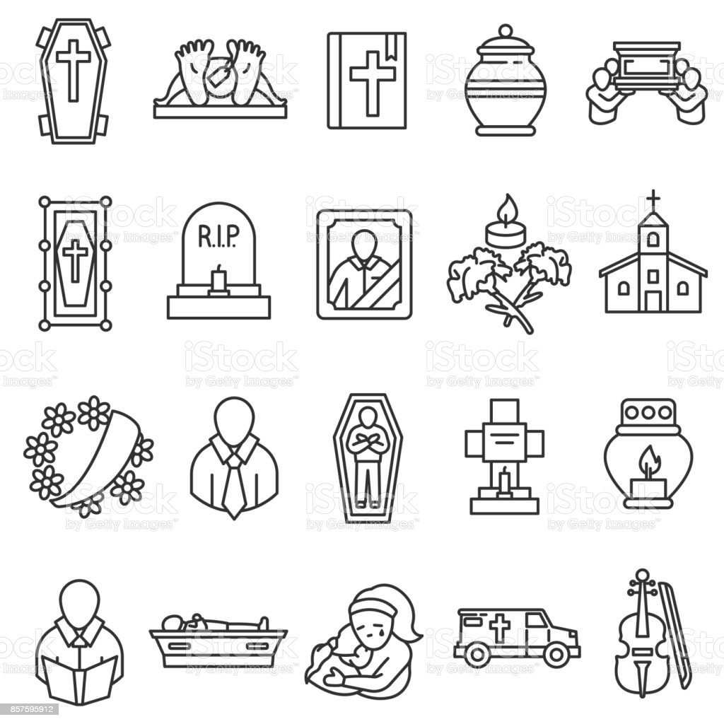 funeral icons set. vector art illustration