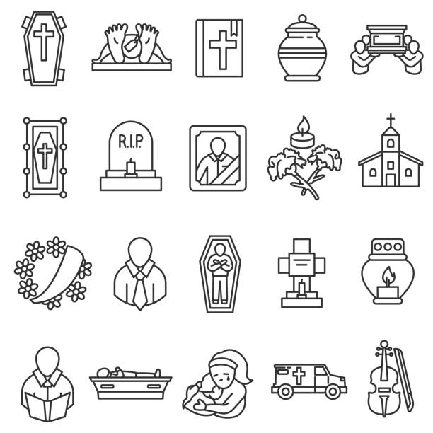 funeral icons set. - tombstone stock illustrations