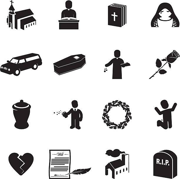 stockillustraties, clipart, cartoons en iconen met funeral icons - funeral crying