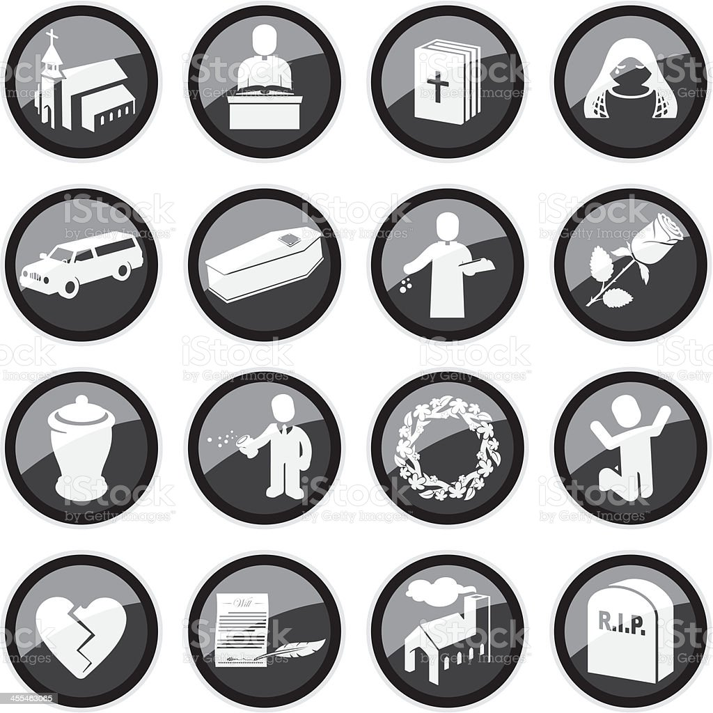 Funeral Icons royalty-free stock vector art