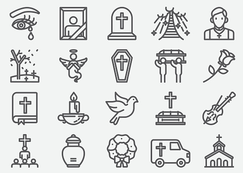 Funeral Line Icons