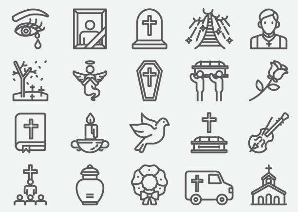 Funeral Line Icons Funeral Line Icons religious symbol stock illustrations