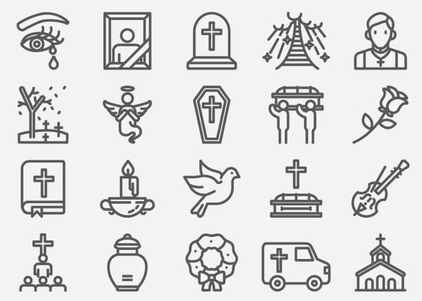 stockillustraties, clipart, cartoons en iconen met begrafenis regel pictogrammen - graf