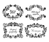 istock Funeral obituary condolence frames and RIP flowers 1322437762