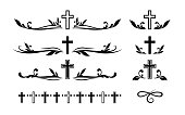 istock Funeral ornamental decorations. Vector memorial design elements. Border, divider, ribbon, frame and corner. 1225226990