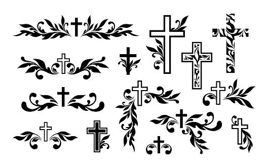 Funeral ornamental decorations. Vector memorial design elements. Border, divider, ribbon, frame and corner.