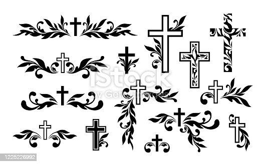 istock Funeral ornamental decorations. Vector memorial design elements. Border, divider, ribbon, frame and corner. 1225226992
