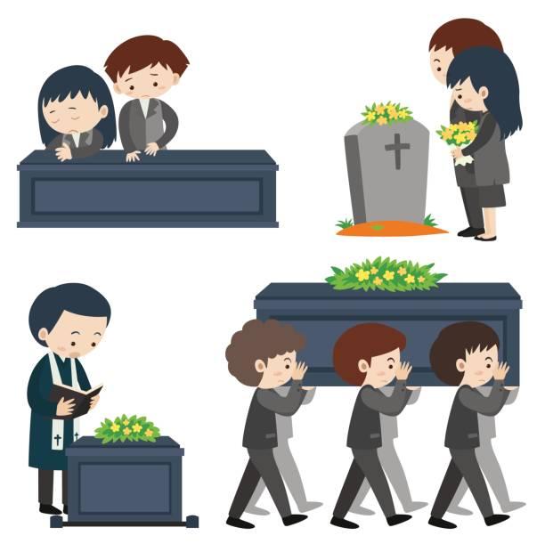 stockillustraties, clipart, cartoons en iconen met begrafenis scène met veel droevige mensen - funeral crying