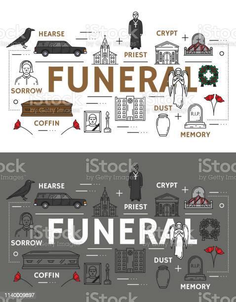 葬儀と埋葬式のアイコン - イラストレーションのベクターアート素材や ...