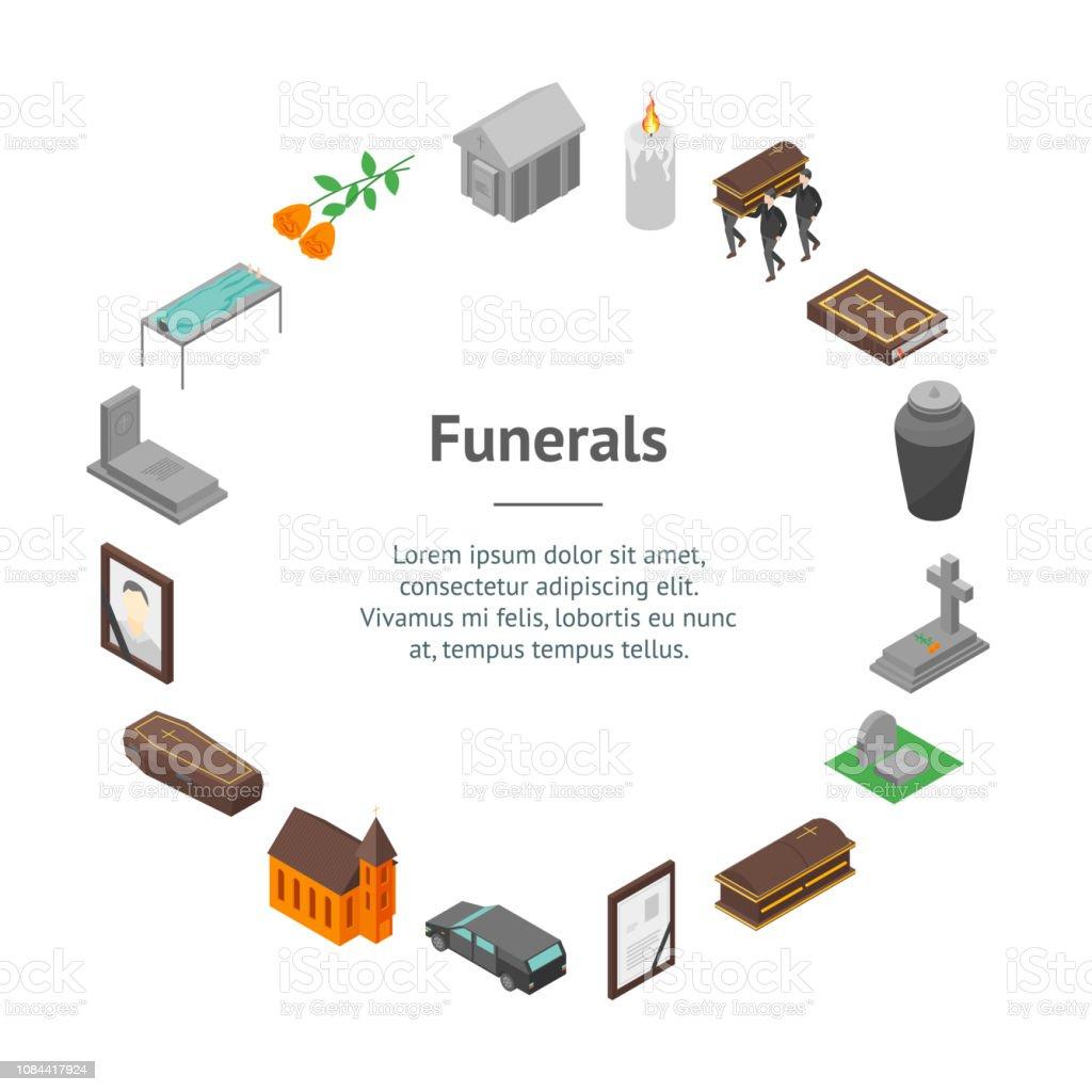 Beerdigung Karte.Beerdigung Schilder Banner 3dkarte Kreis Isometrische Ansicht Vektor