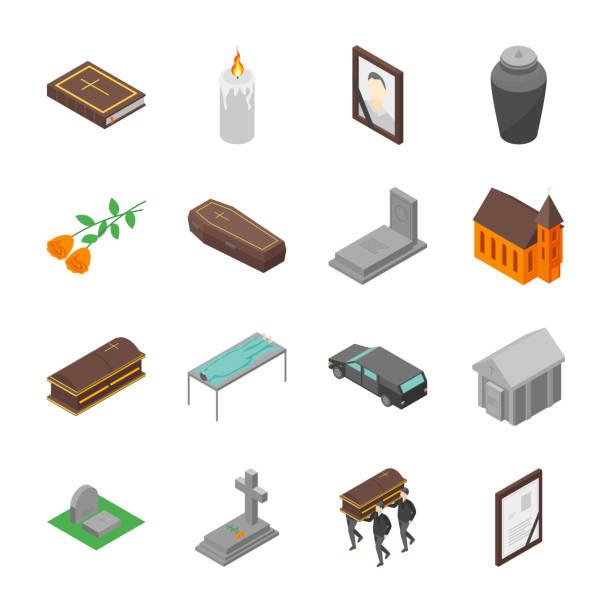 bildbanksillustrationer, clip art samt tecknat material och ikoner med begravningen tecknar 3d ikoner set isometrisk vy. vektor - ljus på grav