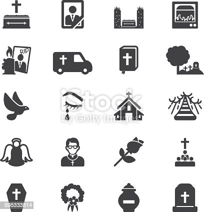 istock Funeral Silhouette Icons | EPS10 595333814
