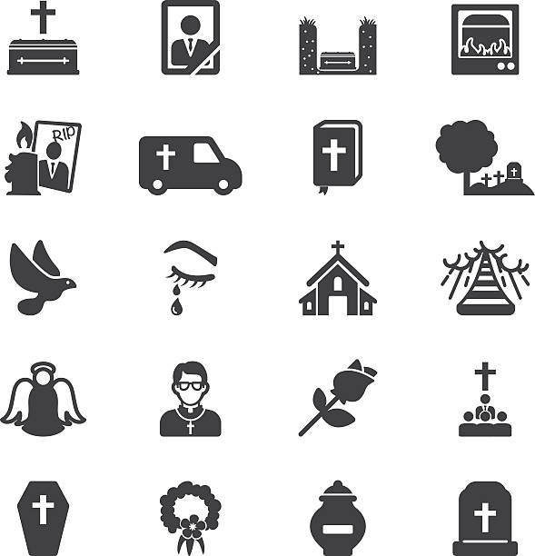 Funeral Silhouette Icons   EPS10 Funeral Silhouette Icons  death stock illustrations