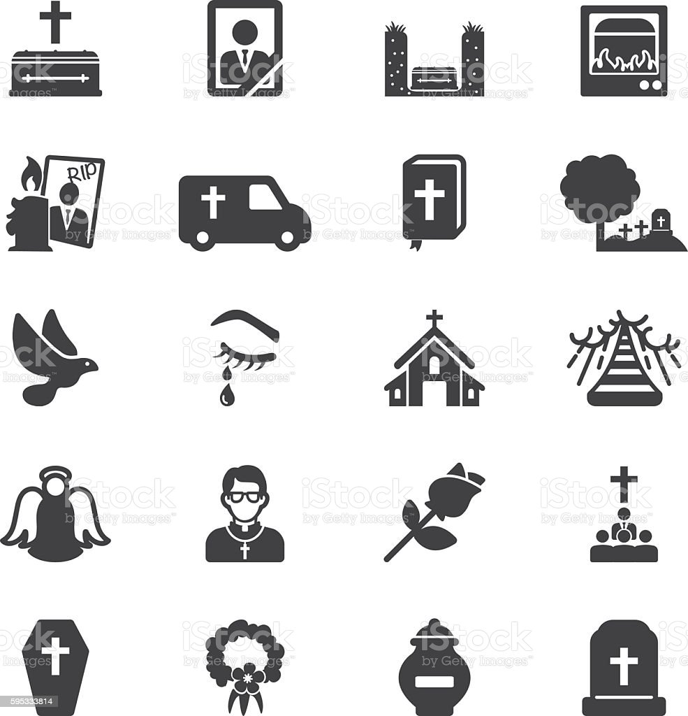 Funeral Silhouette Icons | EPS10 vector art illustration