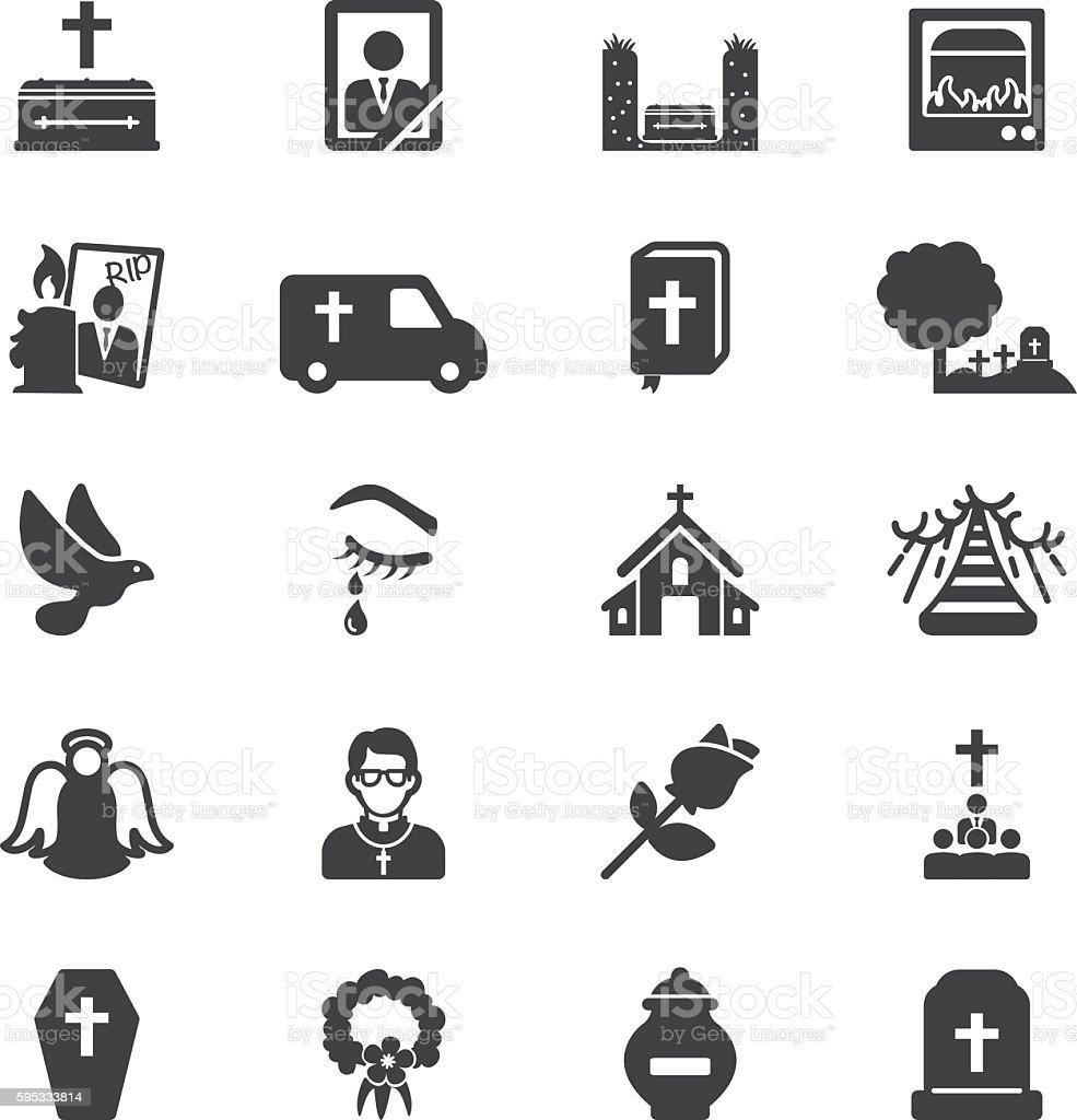 Funeral Silhouette Icons | EPS10 - ilustración de arte vectorial